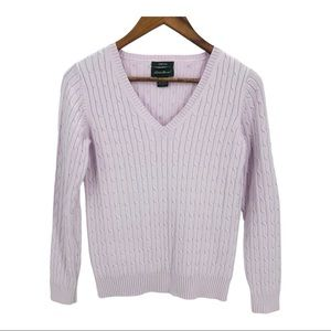 EDDIE BAUER Purple VNeck Cable Knit Sweater Small